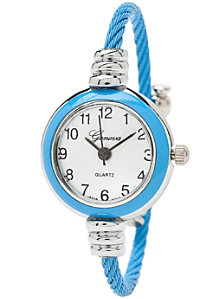 Sky Blue & Silver Geneva Bangle Watch