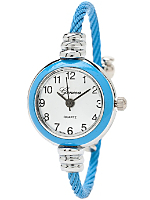 Sky Blue & Silver Geneva Bangle Watch