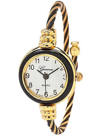 Geneva Twined Black & Gold Bangle Watch
