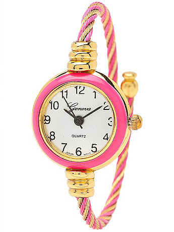 Twined Coral & Gold Geneva Bangle Watch