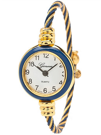 Geneva Twined Navy & Gold Bangle Watch
