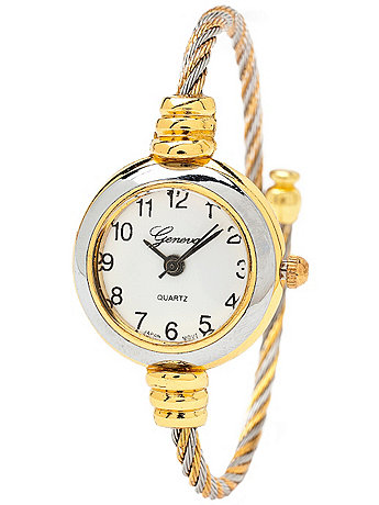Geneva Twined Silver & Gold Bangle Watch