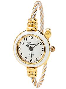 Geneva Twined White & Gold Bangle Watch