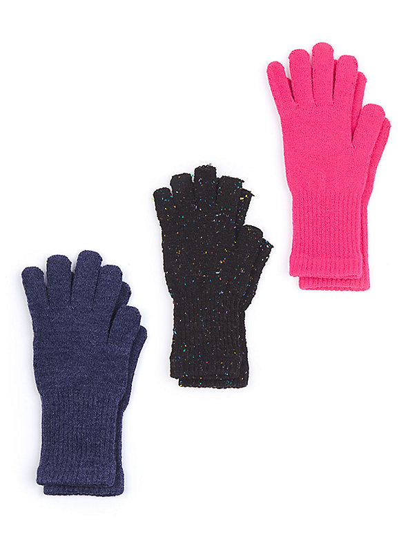 Unisex Acrylic Blend Knit Glove and Fingerless Glove (3 Pack)