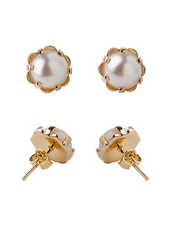 18Kt Gold Plated Earring Pair - Claw Set Pearl Stud ER7-13