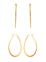 14Kt Gold Plated Earring Pair - Cut Design Oval Hoop 681-134