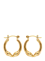 14Kt Gold Plated Earring Pair - Double Ram Hoop 409-1