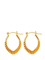 14Kt Gold Plated Earring Pair - Leaf Cut Design Hoop 671-034