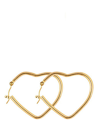 14Kt Gold Plated Earring Pair - Heart Hoop 648-100