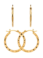 14Kt Gold Plated Earring Pair - Rough Press Circle Hoop 530-034