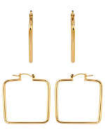 14Kt Gold Plated Earring Pair - Square Hoop 655-118