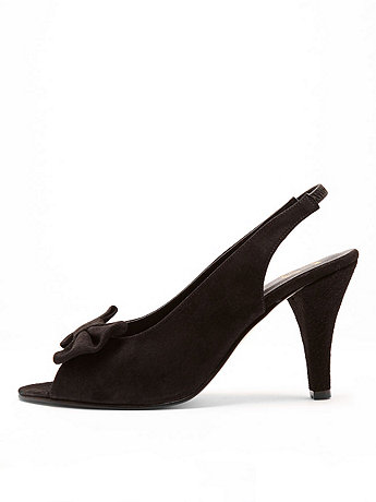 Suede High Heel Bow Slingback