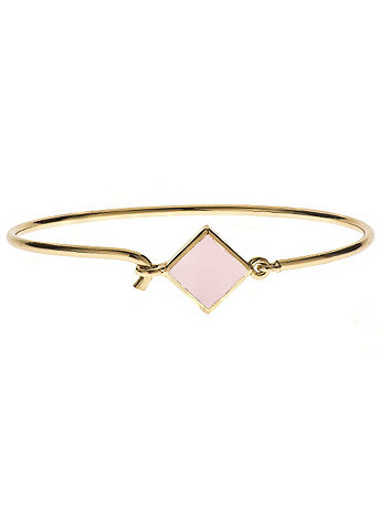 Hinged Wire Bracelet with Light Pink Clasp