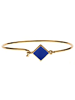 Hinged Wire Bracelet with Navy Clasp