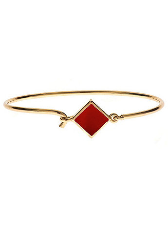 Hinged Wire Bracelet with Red Clasp