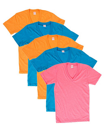 Not-So-Perfect Unisex Poly-Cotton Short Sleeve V-Neck (5-Pack)