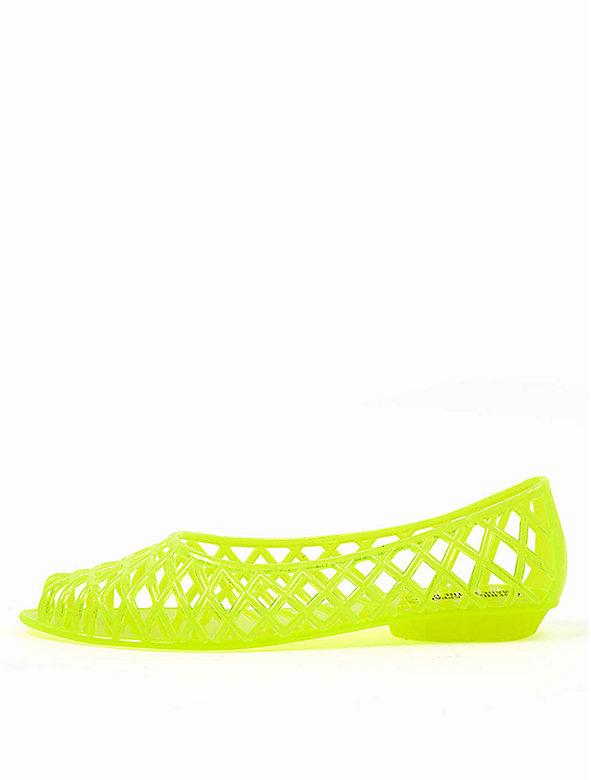 Flat Lattice Jelly Sandal