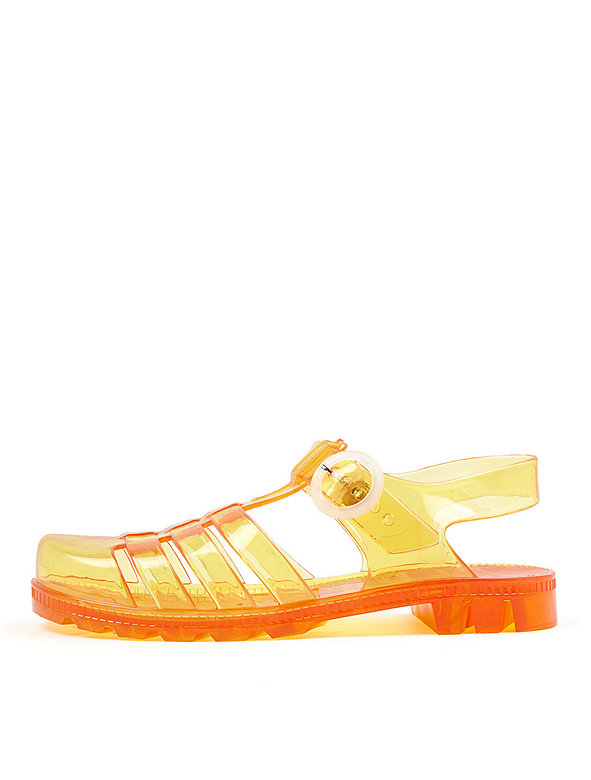 American Apparel Womens Seaside Jelly Flats in Amber or Firefly