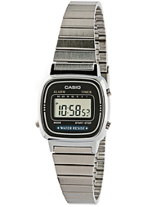 LA670WA-1 Casio Silver & Black Ladies Digital Watch