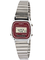 LA670WE-A4E Casio Silver & Burgundy Ladies Digital Watch
