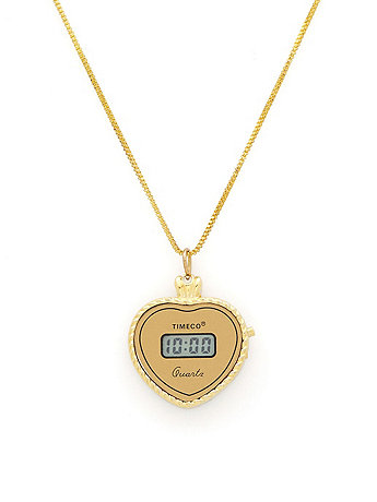 Timeco Gold Heart Pendant Ladies Watch