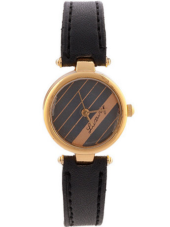 Luxury Black Leather Ladies Analog Watch