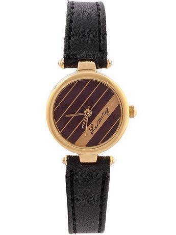 Luxury Black Leather Ladies Analog Watch