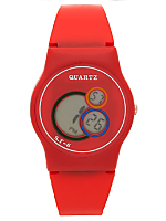 Red Luxury Circles Wristwatch