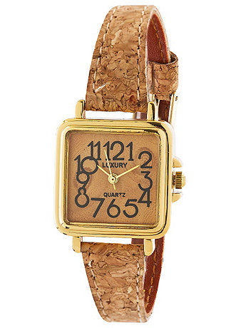 Luxury Square Cork Ladies Analog Watch