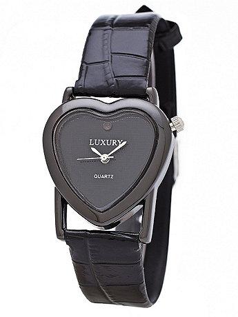 Black Luxury Heart Wristwatch