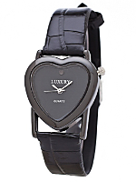 Black Luxury Heart Wristwatch