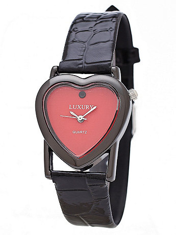 Black & Red Luxury Heart Wristwatch