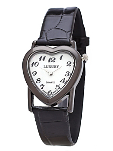 Black & White Luxury Heart Wristwatch