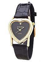 Gold & Black Luxury Heart Wristwatch