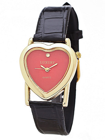 Gold & Red Luxury Heart Wristwatch