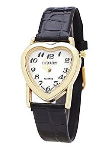 Gold & White Luxury Heart Wristwatch