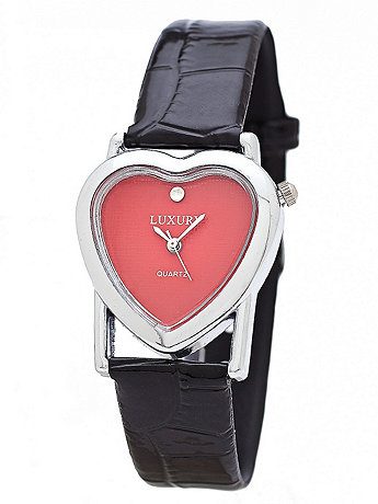 Silver & Red Luxury Heart Wristwatch