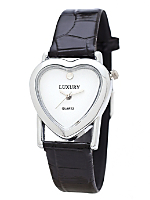 Silver & White Luxury Heart Wristwatch