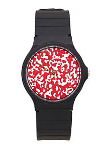 Red & White Composition Print Casio Men's Wristwatch