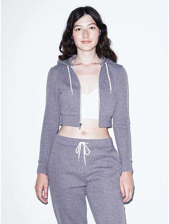 Peppered Fleece Cropped Hoodie