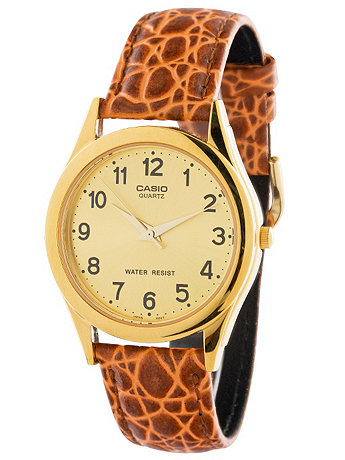 MTP-1093Q-9B Casio Camel Leather Analog Watch