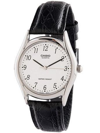 MTP-1094E-7BDF Casio Black Leather Analog Watch