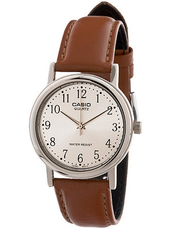 MTP-1095E-7BDF Casio Camel Leather Analog Watch