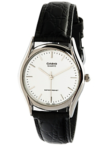 MTP1094E-7A Casio Black Leather Analog Watch