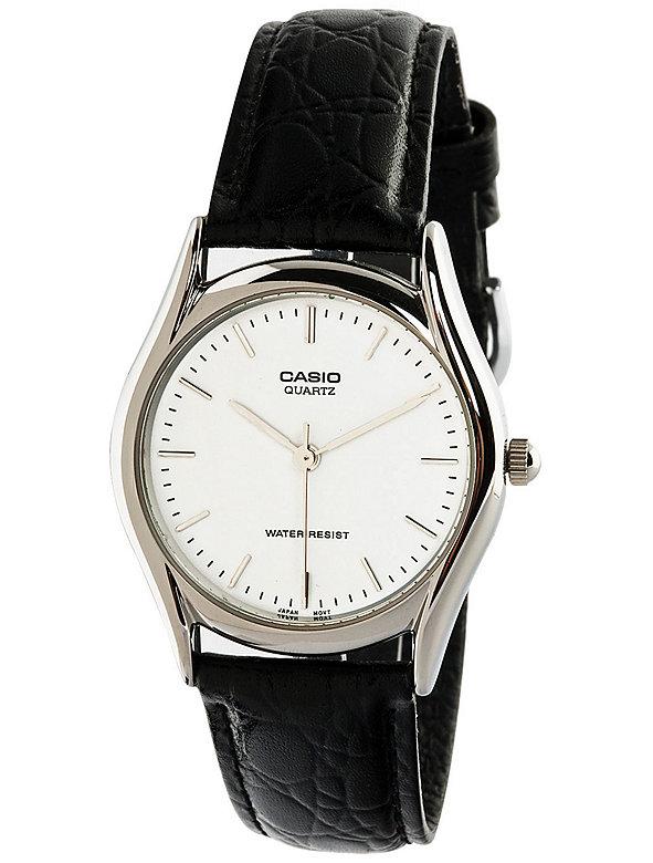 MTP1094E-7A Casio Black Leather Analog Watch