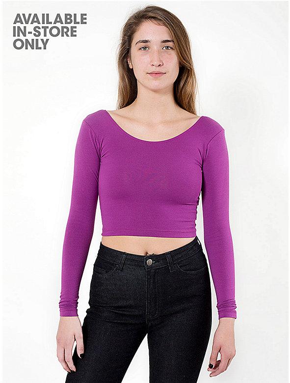 Cotton Spandex Jersey Long Sleeve Crop Top