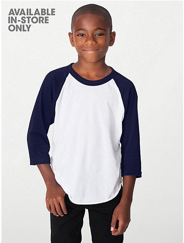 Youth Poly-Cotton 3/4 Sleeve Raglan