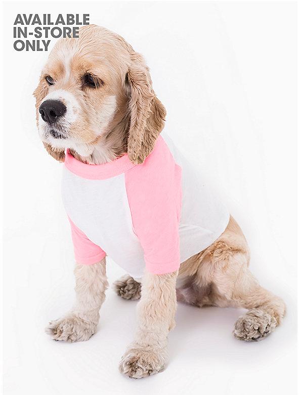 White & Neon Heather Pink Poly-Cotton Dog Raglan