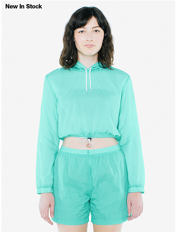 Nylon Cropped Hoodie