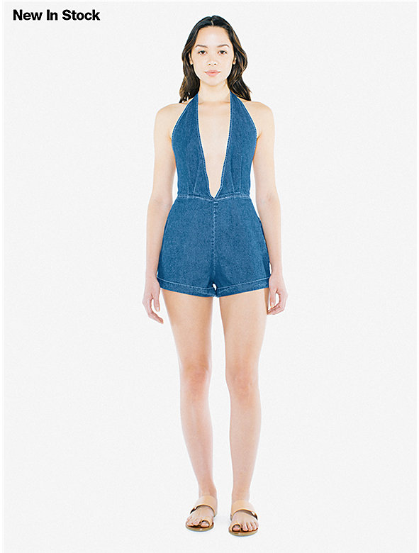 Denim Deep V Romper